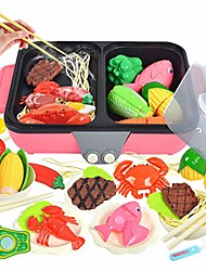 cheap -kitchen playset for kids, 37pcs 2-in-1 mini hot pot and barbecue grill pretend play simulation kitchen toys for children (pink)