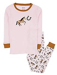 cheap -kids pajamas boys girls 2 piece pjs set 100% cotton (horse pink, size 12-18 months)