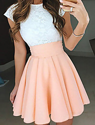 cheap -A-Line Beautiful Back Flirty Graduation Cocktail Party Dress Jewel Neck Short Sleeve Short / Mini Chiffon with Pleats 2021