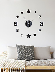 cheap -3D DIY Wall Clock Roman Numerals Clock Frameless Mirror Wall Sticker Home Decor for Living Room Bedroom