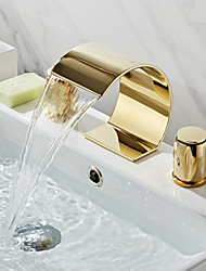 cheap -Bathroom Sink Faucet - Waterfall / Widespread Ti-PVD Widespread Two Handles Three HolesBath Taps / Brass