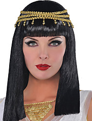 cheap -Cosplay Wig Cleopatra Natural Straight Neat Bang Wig Long Black Synthetic Hair Women's Cosplay Exquisite Black