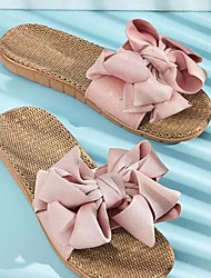 cheap -Women's Slippers & Flip-Flops Outdoor Slippers Beach Slippers Flat Heel Open Toe Casual Boho Home Polyester Bowknot Color Block Light Pink