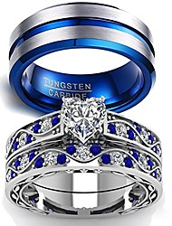 cheap -couple ring bridal sets his hers women 10k white gold filled men tungsten carbide wedding engagement ring band