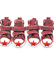 cheap -4pcs pet dog denim five-pointed star shoes anti-slip sneaker boots for teddy yorkie (red)