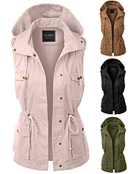 cheap -Women's Hiking Vest / Gilet Jacket Top Outdoor Thermal Warm Windproof Multi-Pockets Quick Dry Autumn / Fall Winter Spring Cotton Polyester Black Army Green Pink Fishing Climbing Traveling