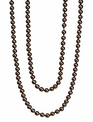 cheap -2 pcs pearl necklace, stylish long pearl chain for clothing, clothing accessories bead accessories (copper)