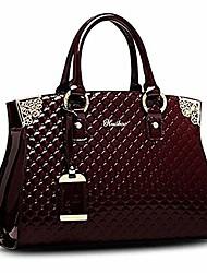 cheap -women's patent leather handbags designer totes purse satchels shoulder handbag fashion embossed top handle bags (wine red)
