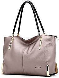 cheap -leather handbags for women, genuine leather large capacity zipper closure ladies top-handle bags womens roomy tote purses women's designer handbag with woven handle fashion shoulder bag (light purple)