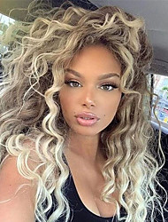 cheap -Synthetic Wig Curly Water Wave Middle Part Wig Long Blonde Synthetic Hair 26 inch Women's Cool Fluffy Blonde