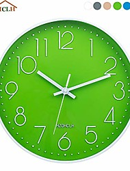cheap -12 inch modern wall clock silent non-ticking quartz sweep decorative battery operated plastic frame glass cover wall clocks for home living room office school(green)