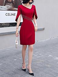 cheap -Sheath / Column Minimalist Vintage Homecoming Cocktail Party Dress V Neck Short Sleeve Short / Mini Spandex with Pearls Tassel 2021