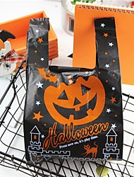 cheap -Black Pumpkin Halloween Vest Bag Shopping Bag Wholesale Portable Plastic Vest Packing Bag 100pcs