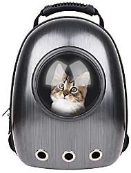رخيصةأون -حامل فقاعات محمول للحيوانات الأليفة حامل فقاعات مقاوم للماء شفاف يسمح بمرور الهواء على شكل كبسولة حقيبة ظهر للكلب والقط والجرو والحيوانات في الهواء الطلق والمشي - أسود