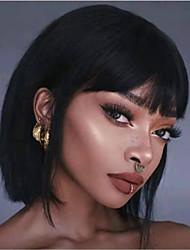 cheap -Human Hair Wig Short Straight Bob Neat Bang Natural Women Sexy Lady New Capless Malaysian Hair Women's Natural Black #1B 12 inch 14 inch 16 inch