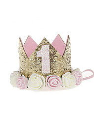 cheap -baby princess birthday hat tiara crown sparkle gold flower style with artificial rose flower