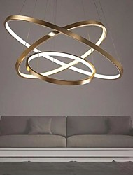 cheap -LED Gold Pendant Light 80cm/60cm/40cm 3-Light Ring Circle Matte Brushed Gold Aluminum Painted Finishes Dimmable with Remote Control
