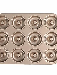 cheap -12 cavity non stick donut mold cake baking pan carbon steel molding tray pans for cake biscuit baking recipes mold
