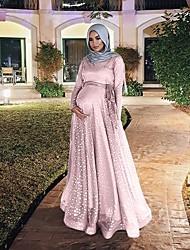 cheap -Women's Chiffon Dress Maxi long Dress - Long Sleeve Print Print Summer Casual Daily Weekend 2020 Black Blue Purple Blushing Pink Gold S M L XL XXL 3XL 4XL 5XL