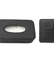 cheap -Genuine Leather Car Visor Tissue Holder with CD Holder Litchi Stria  Multi-Functional CD Organizer Visor Tissue Box Bag Card Slot for Car & Truck