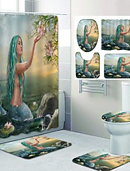 cheap -Mermaid Pattern PrintingBathroom Shower Curtain Leisure Toilet Four-Piece Design