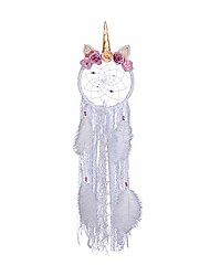 cheap -unicorn dream catcher for girls, white feather dream catchers for bedroom wall hanging, birthday gift for girls, 33 inches (white)