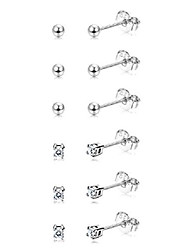 cheap -6 pairs sterling silver tiny ball stud earrings for women girls round cz earrings set (type a : silver tone)