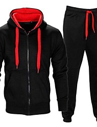 cheap -Men's 2-Piece Full Zip Tracksuit Sweatsuit Long Sleeve 2pcs Thermal Warm Moisture Wicking Soft Fitness Gym Workout Running Jogging Training Sportswear Outfit Set Clothing Suit Hoodie Dark Grey Black