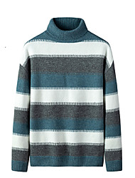 cheap -Men's Stylish Basic Oversized Knitted Striped Pullover Acrylic Fibers Long Sleeve Sweater Cardigans Turtleneck Fall Winter Black Blue Gray