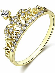 cheap -women crown rings tiara princess queen 18k rose gold plated tiny cz promise ring (bd02g, 6)