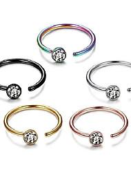 cheap -5-12pcs 20g stainless steel nose ring hoop cz body ear piercing 5 mixed colors (c: 5pcs (16g,inner diameter:8mm))