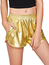cheap -women's yoga hot shorts shiny metallic pants