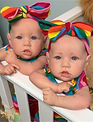 cheap -22 inch Reborn Doll Baby & Toddler Toy Reborn Baby Doll Baby Girl Reborn Baby Doll Twins Saskia lifelike Hand Made Simulation Hand Applied Eyelashes Floppy Head Cloth Silicone Vinyl with Clothes and