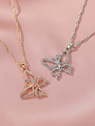 cheap -Women's Couple's Pendant Necklace Necklace Classic Butterfly Simple Classic Sweet Fashion Zircon Alloy Gold Silver 51 cm Necklace Jewelry 1pc For Party Evening Gift Birthday Party