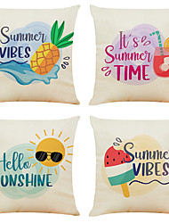 cheap -Set of 4 Symphony Animal  Linen Square Decorative Throw Pillow Cases Sofa Cushion Covers 18x18