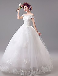 cheap -Ball Gown Wedding Dresses Off Shoulder Floor Length Lace Organza Short Sleeve Romantic Elegant Illusion Sleeve with Beading Appliques 2020