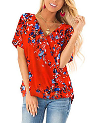 cheap -summer tops for women v neck short sleeve t shirts blouses red 2xl