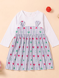 cheap -Kids Toddler Girls' Active Basic Striped Print Long Sleeve Knee-length Dress White