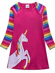 cheap -toddler girls long sleeve dresses cotton rainbow striped pony cartoon casual for 1-6 years (al8112fuchsia, 5t)