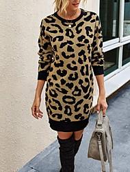 cheap -Women's Sweater Jumper Dress Short Mini Dress - Long Sleeve Leopard Fall Winter Casual 2020 Army Green Khaki Beige Gray S M L XL