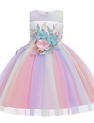 cheap -Toddler Kid's Little Girls' Dress Rainbow Flower Party Print Green Rainbow Knee-length Princess Dresses
