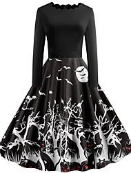 cheap -Halloween Women's A-Line Dress Knee Length Dress - Long Sleeve Pumpkin Bat Print Patchwork Print Spring Fall Boat Neck Hot Vintage Slim 2020 Black S M L XL XXL