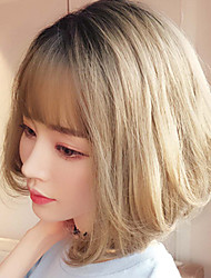 cheap -Synthetic Wig kinky Straight Bob With Bangs Wig Short Brown Grey Black / Brown Chocolate Synthetic Hair 10 inch Women's Classic Exquisite Fluffy Brown