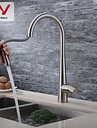 cheap -Kitchen Faucet - Single Handle One Hole Nickel Brushed Pull-out / Pull-down / Tall / High Arc Centerset Contemporary Kitchen Taps with WATERMARK