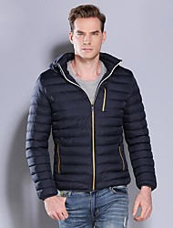 cheap -Men's Padded Parka Solid Colored Nylon Black / Blue / Army Green M / L / XL