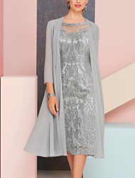 cheap -Two Piece Mother of the Bride Dress Plus Size Vintage Sexy Jewel Neck Tea Length Chiffon 3/4 Length Sleeve with Lace 2021