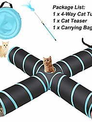 cheap -4 way collapsible cat tunnel, roomy and tear resistant crinkle cat toy tube with cat teaser, storage bag and dangling toys, for cat, puppy, kitty, kitten, rabbit, dogs, indoor outdoor use
