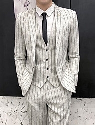 cheap -Black / Blue / Light Grey Striped Slim Fit Polyester Suit - Notch Single Breasted One-button / Suits