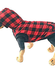 cheap -Dog Coat Vest Plaid Classic Style Sports Outdoor Winter Dog Clothes Warm Red Blue Costume Polyster S M L XL XXL 3XL