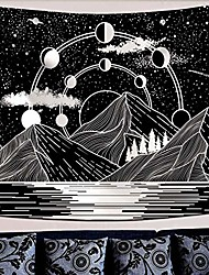 """cheap -mountain moon tapestry stars river black and white art tapestry wall hanging home decor & #40;50"""" x 60""""& #41;"""